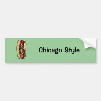Happy Chicago Style Hot Dog Bumper Sticker