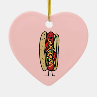 Happy Chicago Style Hot Dog Ceramic Ornament