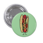 Happy Chicago Style Hot Dog Pinback Button
