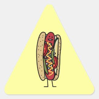 Happy Chicago Style Hot Dog Triangle Sticker