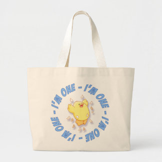 Happy Chick 1st Birthday Blue Large Tote Bag