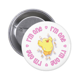 Happy Chick 1st Birthday Pink Pinback Button