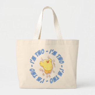 Happy Chick 2nd Birthday Blue Large Tote Bag