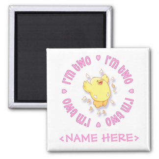 Happy Chick 2nd Birthday Pink Magnet