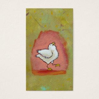 Happy chicken painting fun cute modern folk art business card