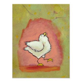 Happy chicken painting fun cute modern folk art card