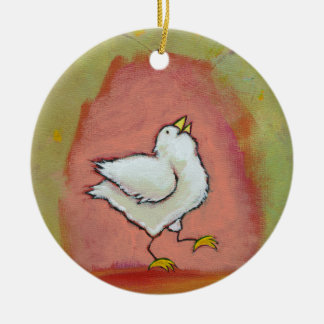 Happy chicken painting fun cute modern folk art Double-Sided ceramic round christmas ornament