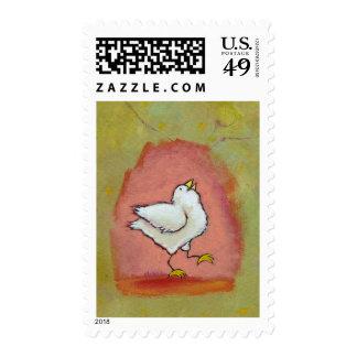 Happy chicken painting fun cute modern folk art stamp