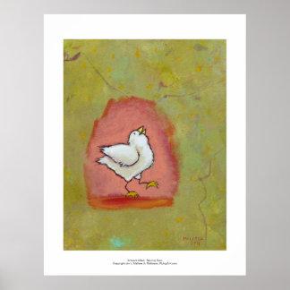 Happy chicken painting fun cute modern folk art poster