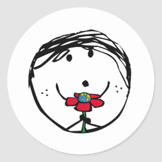 Happy child for a better world classic round sticker
