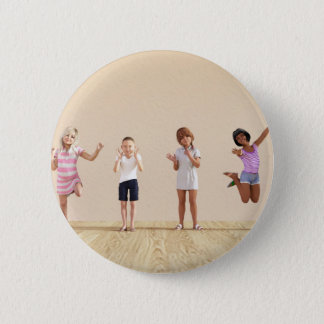Happy Children in a Day Care or Daycare Center Button