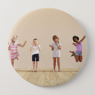 Happy Children in a Day Care or Daycare Center Pinback Button