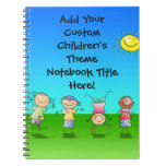 Happy Children Play in Sun, Kids Outdoors Spiral Note Book