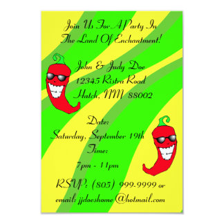 Happy Chiles Pepper Ristra Chile peppers NM themed 3.5x5 Paper Invitation Card