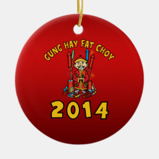 Happy Chinese New Year 2014 Ceramic Ornament
