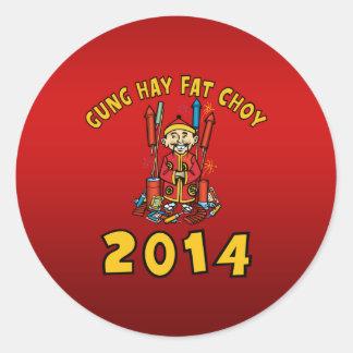 Happy Chinese New Year 2014 Classic Round Sticker