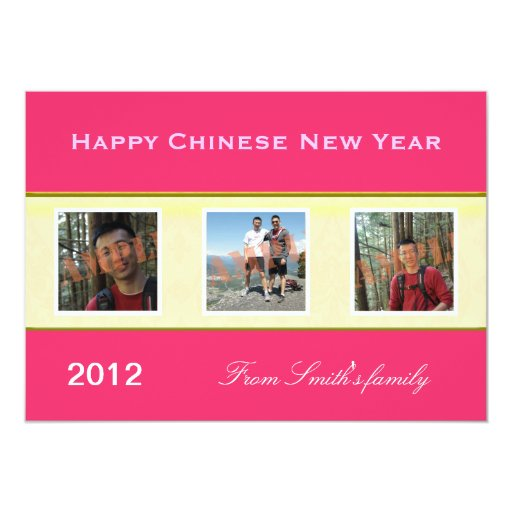 """Happy Chinese New Year family photo greeting cards 5"""" X 7"""" Invitation Card"""