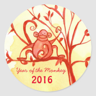 Happy Chinese New Year Of The Monkey Classic Round Sticker
