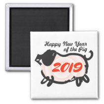Happy Chinese New Year of The Pig square Magnet