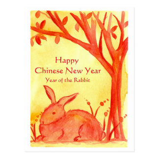 Happy Chinese New Year Of The Rabbit Watercolor Postcard