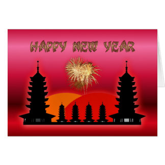 Happy Chinese New Year  Vietnamese New Year temple Card