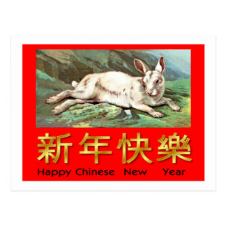Happy Chinese New Year (White Rabbit) Postcard