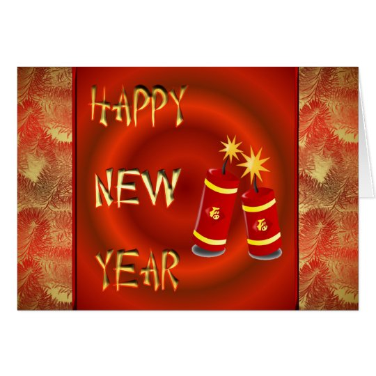 Happy Chinese New Year with fireworks tet Vietnam Card