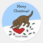 Happy Chocolate Lab Christmas Cartoon Stickers