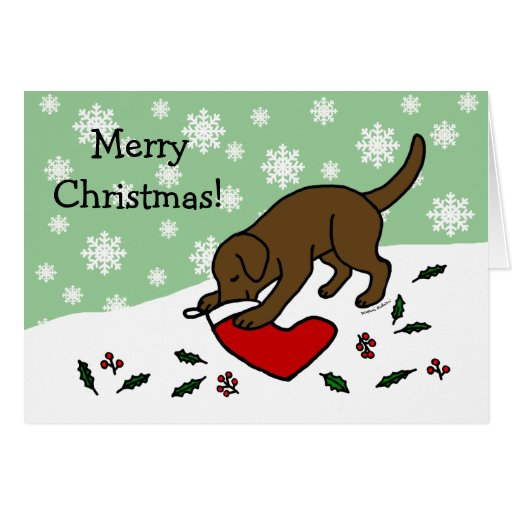 Happy Chocolate Lab Christmas Snowflakes Card