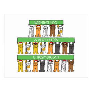 Happy Chrismukkah Cats Postcard