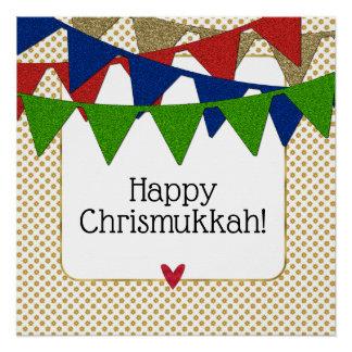 Happy Chrismukkah Christmas and Hanukkah Poster