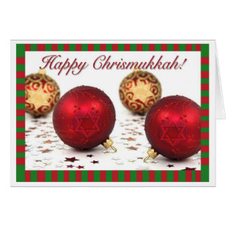 Happy Chrismukkah Greeting Card Ornaments
