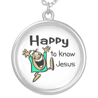 Happy Christian guy dancing Round Pendant Necklace