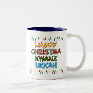 HAPPY CHRISTMAKWANZUKKAH Two-Tone COFFEE MUG