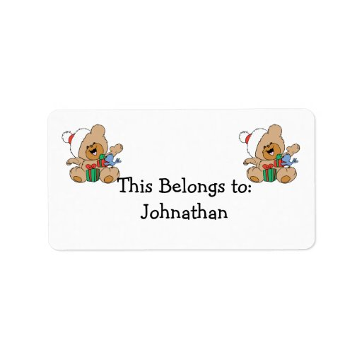 Happy Christmas Bear with Presents Address Label