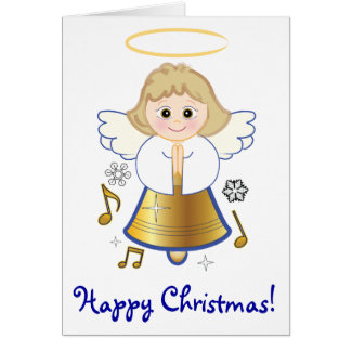 Happy Christmas Bell Angel with Music Notes