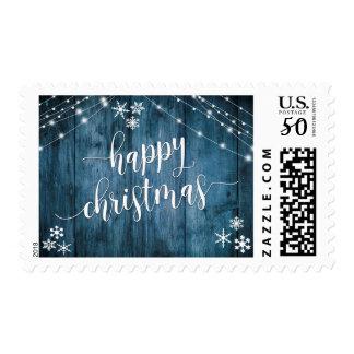 Happy Christmas Blue Wood w/ Snowflakes & Lights Postage