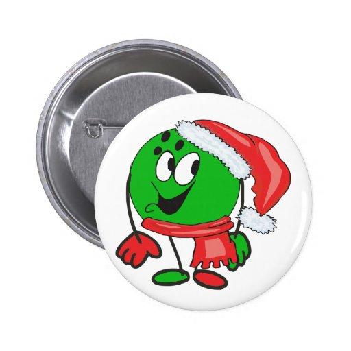 Happy christmas bowling ball wearing a santa cap pins