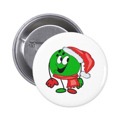 Happy christmas bowling ball wearing a santa cap buttons