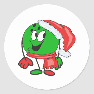 Happy christmas bowling ball wearing a santa cap classic round sticker
