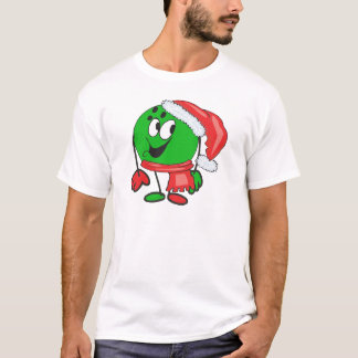 Happy christmas bowling ball wearing a santa cap T-Shirt
