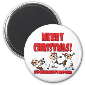 Happy Christmas Breakdancing 2 Inch Round Magnet