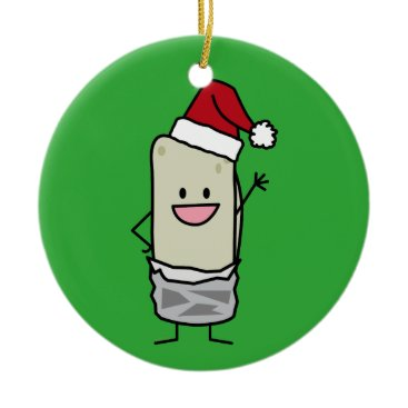 Christmas Themed Happy Christmas Burrito Waving Hello Santa Hat Ceramic Ornament