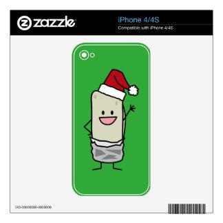Happy Christmas Burrito Waving Hello Santa Hat Decal For iPhone 4