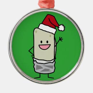 Happy Christmas Burrito Waving Hello Santa Hat Metal Ornament