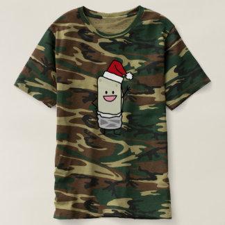 Happy Christmas Burrito Waving Hello Santa Hat T Shirt