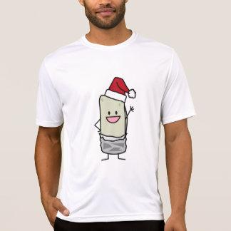 Happy Christmas Burrito Waving Hello Santa Hat T-shirt