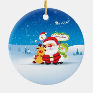 HAPPY CHRISTMAS CERAMIC ORNAMENT