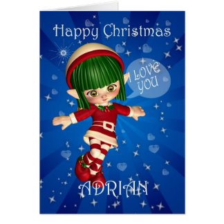 Happy Christmas Elf saying I love you Cards