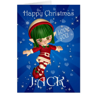Happy Christmas Elf saying I love you Greeting Cards